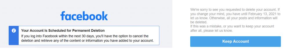 изображение на предупреждението за финално изтриване на фейсбук или инстаграм профил и това, че ще бъдат изтрити завинаги след 30 дни